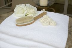 Spa towels 11. Collection of towels and candles and spa accessories Stock Image