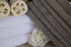 Spa towels 15. Collection of towels and candles and spa accessories at spa Stock Images