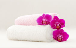Spa towels. Composition of spa towels and orchids Stock Images