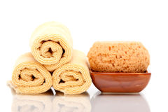 Spa towels and bath sponge. On white background Royalty Free Stock Photos