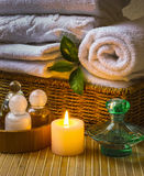 Spa with towels and candle Stock Photo