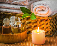 Spa with towels and candle. Spa with towels with a candle and other accessories stock image