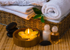 Spa with towels and candle Royalty Free Stock Images