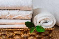Spa with towels and candle Royalty Free Stock Photos