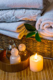 Spa with towels and candle Stock Photography