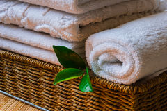 Spa with towels and candle Royalty Free Stock Photo