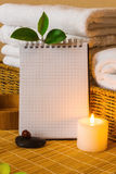 Spa with towels and candle Stock Photos