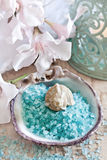 Spa. Towels, candles and bath salt. Spa conception. Selective fous Royalty Free Stock Image