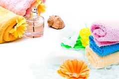 Spa towels with flower Royalty Free Stock Image