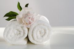 Spa towels with flower Stock Images