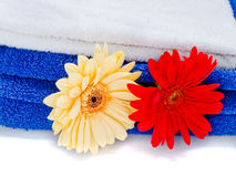 Spa towels with flowers Stock Image