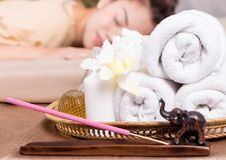 Spa Towels and objects beside spa bed. Massage Spa Towels and objects beside spa bed Stock Image