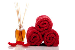Spa towels and oils Royalty Free Stock Photos