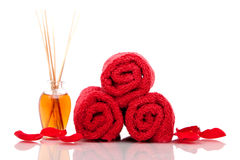 Spa towels and oils Royalty Free Stock Images