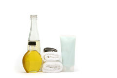 Spa towels and oils Royalty Free Stock Photo