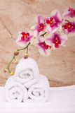 Spa towels with orchid Royalty Free Stock Images