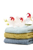 Spa towels and orchid Stock Photos