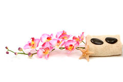 Spa towels and orchid Royalty Free Stock Photography