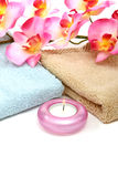 Spa towels and orchid Stock Photo