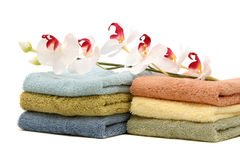 Spa towels and orchid Stock Image