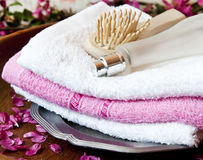 Spa Towels with Perfume and Brush Royalty Free Stock Photo