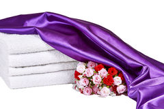 Spa Towels with Roses Stock Photo