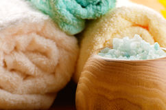 Spa towels and salt set Stock Photography