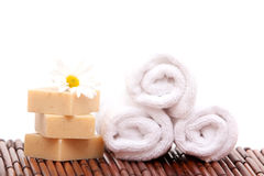 Spa towels and soap bars Stock Photo