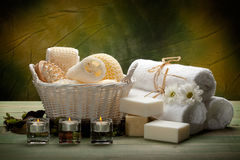Spa - towels, soap, candles and massage tools. Spa supplies - towels, soap, candles and massage tools royalty free stock photo