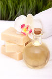 Spa towels, soap and oils Royalty Free Stock Photography