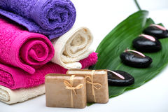 Spa,towels,soap and zen stones Stock Images
