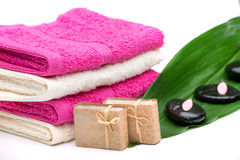 Spa,towels,soap and zen stones Stock Photos
