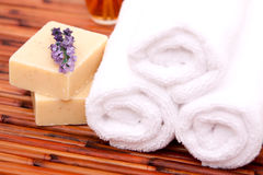 Spa towels with soaps Royalty Free Stock Photography