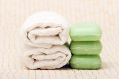 Spa towels and soaps Royalty Free Stock Photography