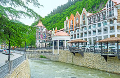 The spa town in Borjomi gorge Stock Photos