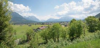 Spa town wallgau landscape and karwendel mountains, bavaria Royalty Free Stock Photos