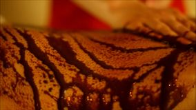 The spa tratment with scrub with coffee and chocolate on the body parts stock video footage