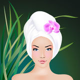 SPA Treatment. Beautiful woman enjoying SPA procedures. Illustration is created with gradient mesh Royalty Free Stock Photo