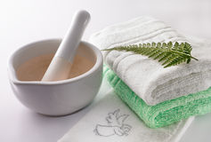 Spa treatment. Preparation of spa treatment using mixing bowl with fern leaf ingredient accompanied with angel design face towels stock photography