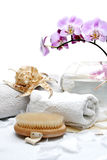 Spa treatment. Luxury spa setting with white petals Stock Image