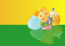 Spa Treatment. Vector background illustration with spa treatment and yellow & green background Stock Photography