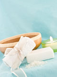Spa Treatment. Against Light Blue Background Royalty Free Stock Photos