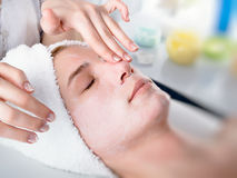 Spa treatment. Face of women getting a spa treatment Royalty Free Stock Photo