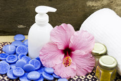 Spa treatment accessories Royalty Free Stock Photos