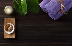 Spa treatment, aromatherapy background. Details and accessories Stock Photography