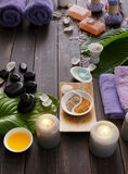 Spa treatment, aromatherapy background. Details and accessories Stock Images