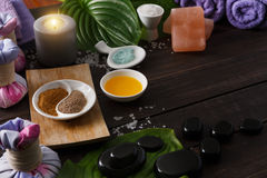 Spa treatment, aromatherapy background. Details and accessories Royalty Free Stock Photography