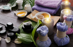 Spa treatment, aromatherapy background. Details and accessories Royalty Free Stock Images