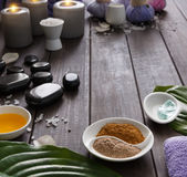Spa treatment, aromatherapy background. Details and accessories Royalty Free Stock Photos