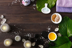 Spa treatment, aromatherapy background. Details and accessories Royalty Free Stock Photo